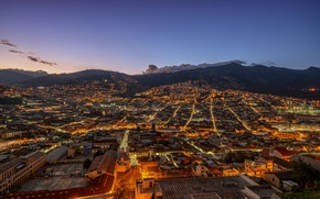 Картинка lights, mountains, clouds, morning, dawn, cityscape, Ecuador, Quito
