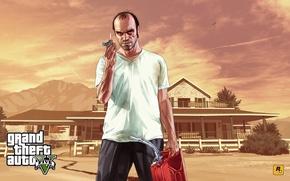 Картинка дом, пожар, арт, Grand Theft Auto V, Тревор, Trevor, Филипс