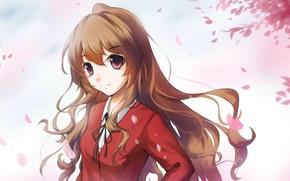 Картинка взгляд, девушка, улыбка, лепестки, школьная форма, anime, art, aisaka taiga, lancefate, toradora!