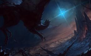 Обои небо, полет, скалы, крылья, драконы, арт