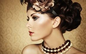 Картинка девушка, фон, волосы, макияж, бусы, профиль, украшение, кудри, шея