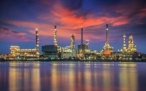 Картинка небо, отражение, Бангкок, oil refinery plant, Нефтеперерабатывающий завод