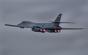 Обои полет, Lancer, бомбардировщик, B-1B, стратегический, Rockwell, сверхзвуковой