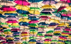 Картинка фон, зонтики, разноцветные, много
