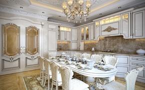 Картинка стол, мебель, стулья, интерьер, потолок, кухня, люстра, посуда