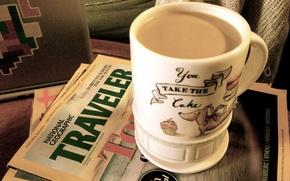 Картинка настроение, кофе, журналы, латтэ