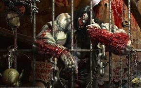 Картинка кровь, монстр, клетка