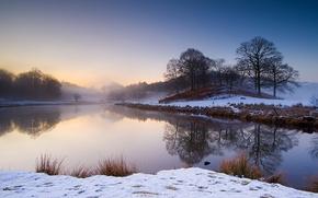 Картинка зима, снег, деревья, пейзаж, река, берег, Природа, утро