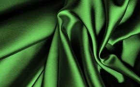 Картинка зеленый, шелк, ткань, складки, сатин