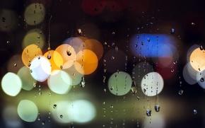 Картинка стекло, огни, дождь