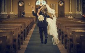 Картинка платье, церковь, невеста, фата, жених, несет