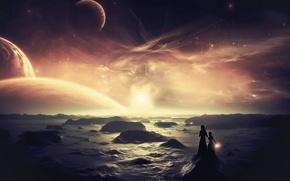 Картинка море, камни, девушки, планеты, звёзды, фонарь, dreamworld