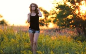 Обои шорты, лето, девушка, Low sun