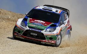 Картинка Ford, Авто, Форд, Капот, Фары, WRC, Rally, Ралли, Fiesta, Фиеста, Передок, M. Hirvonen, J. Lehtinen
