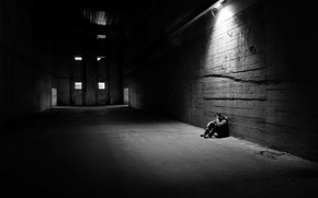 Обои hangar, man, loneliness, light, melancholy