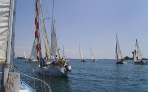Картинка море, вода, Яхты, судно, спортивные, парусники, соревнование, парусный спорт