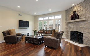 Картинка дизайн, уют, мебель, интерьер, кресла, камин, гостиная