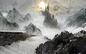 Картинка снег, горы, замок, скалы, лёд, фэнтези, лестница, ступеньки, ice, fantasy, метель, снегопад, blizzard, mountains, rocks, …