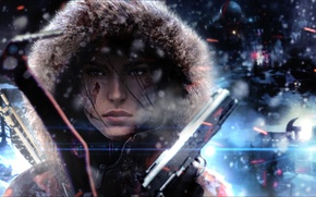 Обои tomb raider, холод, капюшон, зима, ветер, лицо, lara croft, Rise of the Tomb Raider, девушка, ...