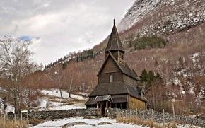 Картинка Норвегия, церковь, деревянная