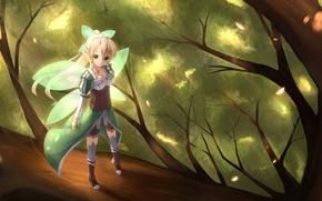 Картинка girl, sunshine, game, forest, green eyes, dress, anime, fairy, tree, cosplay, blonde, elf, leaf, asian, …