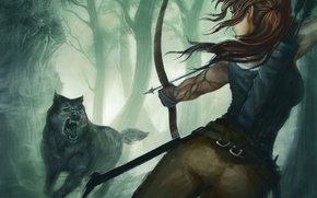 Обои девушка, игра, волк, хищник, лук, арт, пасть, Tomb Raider, лара крофт