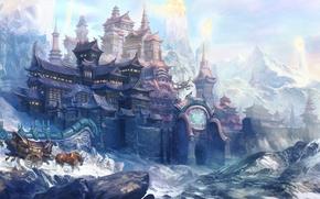 Обои повозка, животные, холод, снег, арт, горы, скалы