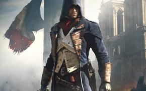 Картинка небо, Париж, дома, меч, флаг, капюшон, Paris, убийца, Ubisoft, клинок, пистоль, Arno, Арно, Assassin's Creed: …