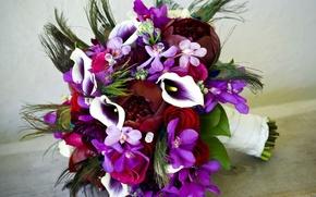 Картинка цветок, цветы, розы, букет, стразы, орхидеи, орхидея, пион, каллы