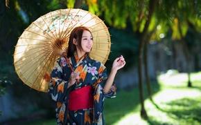 Картинка девушка, стиль, зонт, наряд, girl, азиатка, style, umbrella, Asian girl, outfit