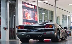 Картинка серебро, Lamborghini, silver, diablo, ламборгини, back, диабло