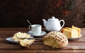 Картинка масло, чайник, хлеб, чашка, посуда, натюрморт