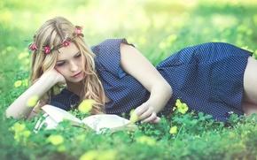 Картинка платье, книга, венок, чтение, Kery Rut Garcia