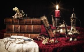Картинка часы, книги, свеча, посуда, натюрморт