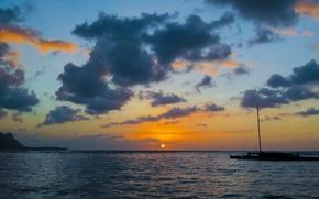 Картинка закат, Гавайи, Hawaii, Kauai, Тихий океан, Pacific ocean, Остров Кауаи