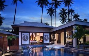 Картинка пальмы, вечер, бассейн, бунгало