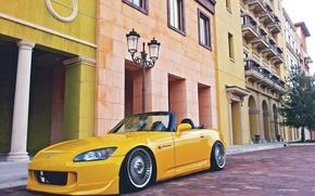 Картинка город, Желтый, Кабриолет, Honda, S2000