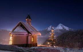 Картинка зима, ночь, храм, Bavaria, Berchtesgaden