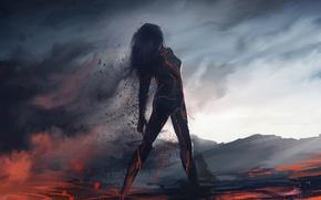 Картинка девушка, пепел, фантастика, дым, силуэт, арт, лава