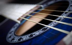 Обои макро, музыка, фон, гитара