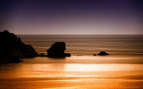 Картинка море, небо, камни, скалы, вечер, горизонт