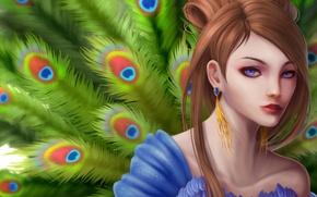 Картинка girl, hair, peacock