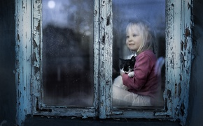 Картинка кошка, настроение, окно, девочка, котёнок