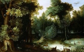 Картинка картина, Ян Брейгель старший, Лесной Пейзаж с Охотником