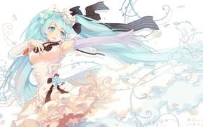 Картинка цветок, девушка, ленты, роза, арт, vocaloid, hatsune miku, bzerox