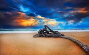 Картинка песок, море, пляж, небо, вода, облака, пейзаж, закат, природа, океан, beach, sky, sea, ocean, landscape, …