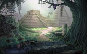 Картинка jungle, painting, concept art, Pyramid