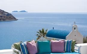 Обои море, лето, небо, пейзаж, природа, Греция