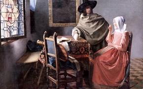 Картинка картина, Johannes Vermeer, Glass of wine
