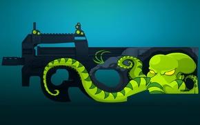 Картинка осьминог, щупальца, раскрас, workshop, cs go, gunsmith, p90, green hunter